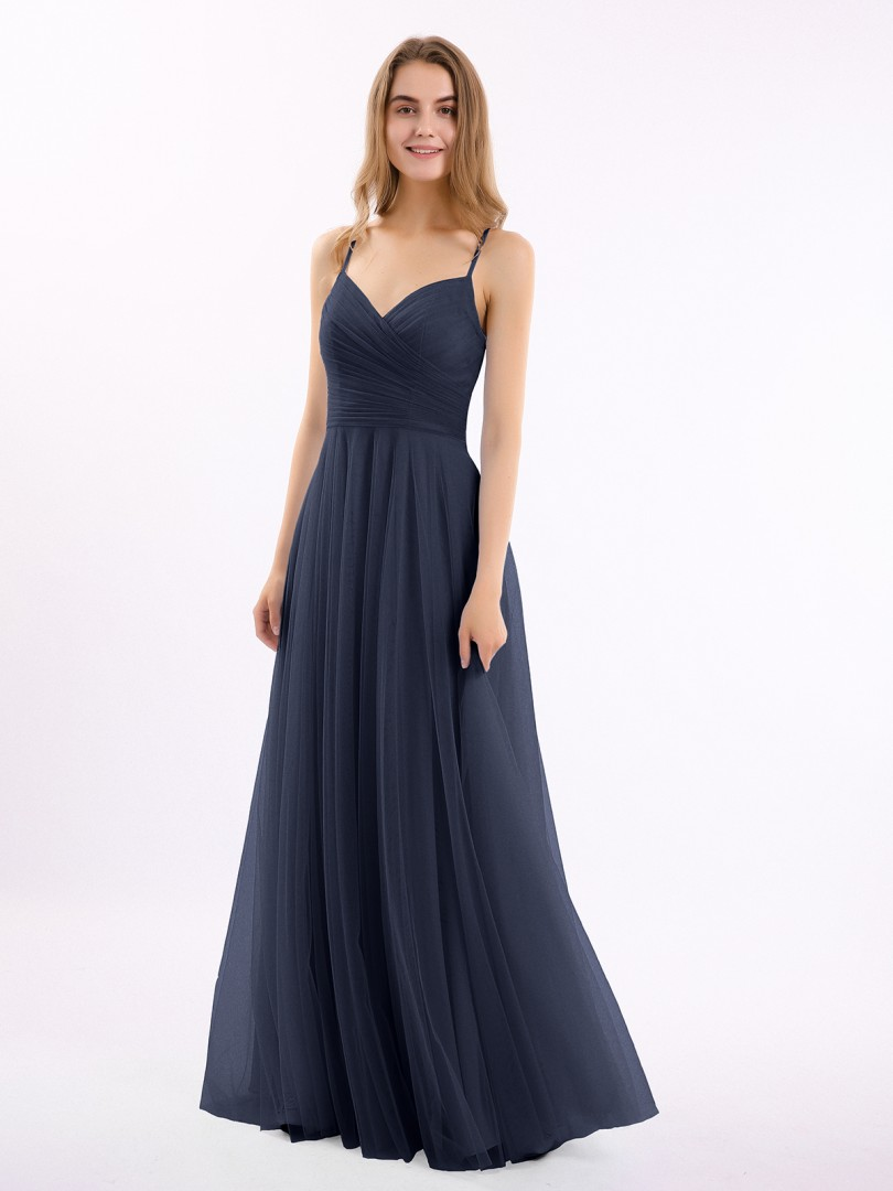 A-line Tulle Cabernet Zipper Ruched, Pleated Floor-length V-neck Spaghetti Straps Tulle Bridesmaid Dresses