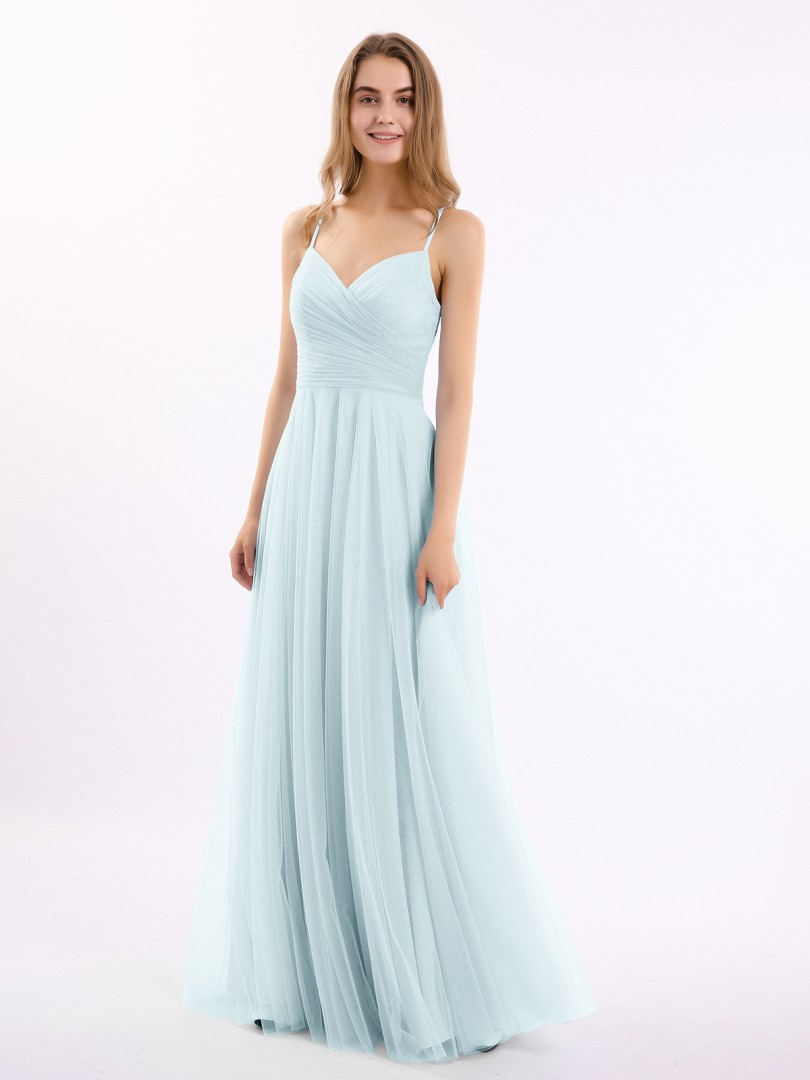 A-line Tulle Cabernet Zipper Ruched, Pleated Floor-length V-neck Spaghetti Straps New Arrivals