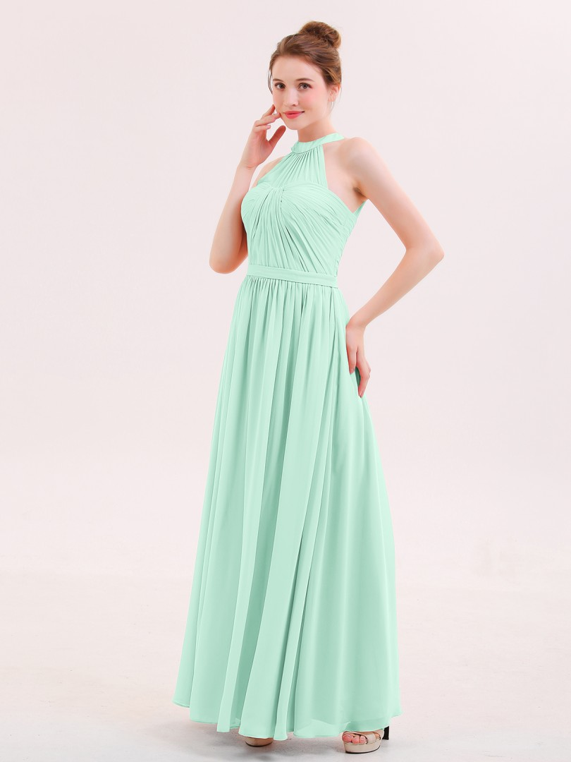 A-line Chiffon Coral Zipper Belt, Ruffle Floor-length Halter Sleeveless Long Bridesmaid Dresses