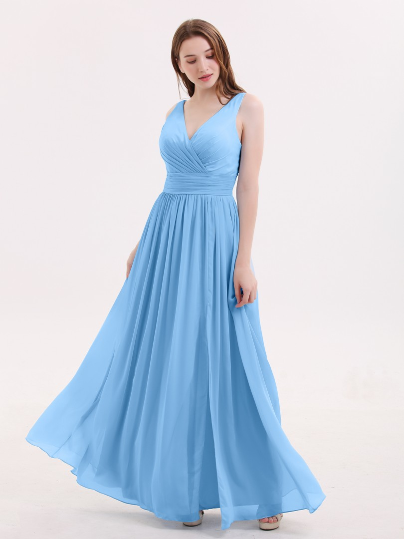 A-line Chiffon Sky Blue Zipper Beaded, Ruched, Pleated Floor-length V-neck Sleeveless Prom Dresses