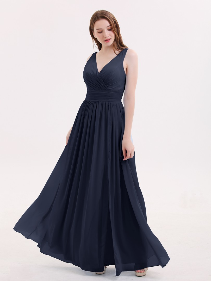 A-line Chiffon Sky Blue Zipper Beaded, Ruched, Pleated Floor-length V-neck Sleeveless Long Bridesmaid Dresses