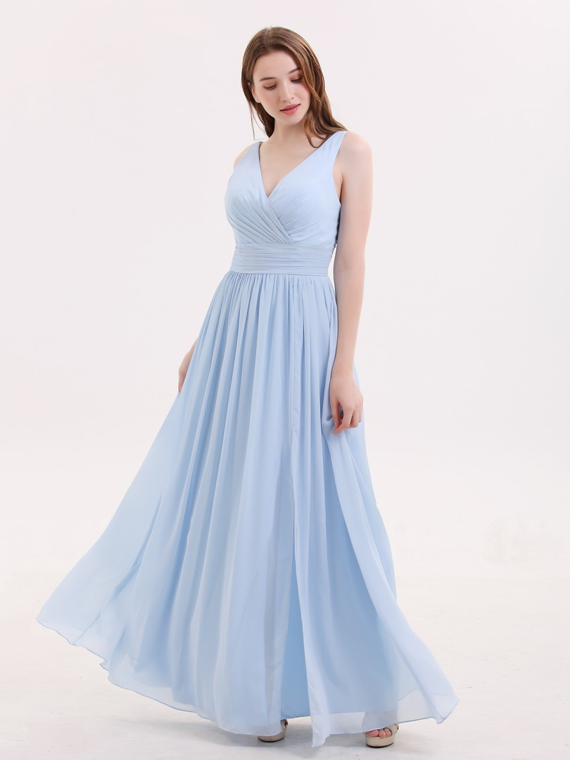 A-line Chiffon Sky Blue Zipper Beaded, Ruched, Pleated Floor-length V-neck Sleeveless Bridesmaid Dresses
