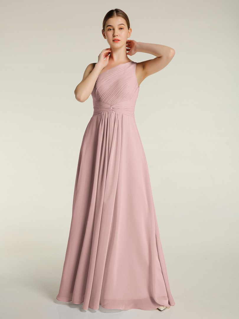 A-line Chiffon Mulberry Zipper Ruched, Pleated Floor-length One Shoulder Sleeveless New Arrivals