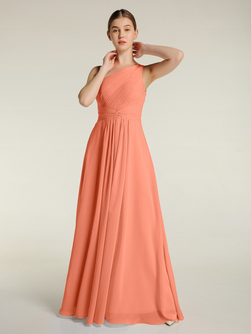 A-line Chiffon Mulberry Zipper Ruched, Pleated Floor-length One Shoulder Sleeveless Bridesmaid Dresses