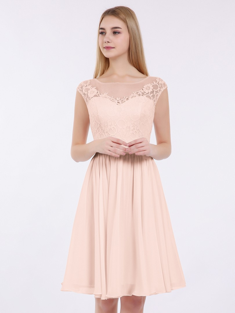 A-line Chiffon Pearl Pink Zipper Lace, Pleated Short/Mini Illusion Sleeveless New Arrivals