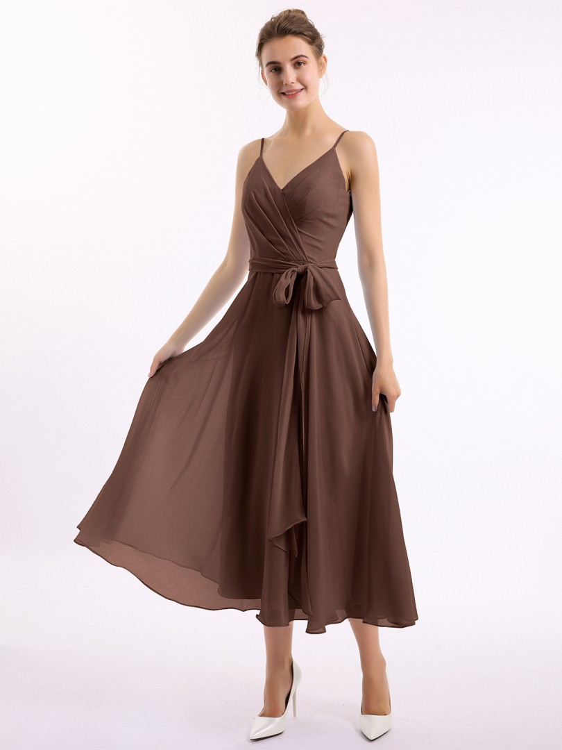 A-line Chiffon Chocolate Zipper Bow, Ruched Tea-length V-neck Spaghetti Straps Short Bridesmaid Dresses