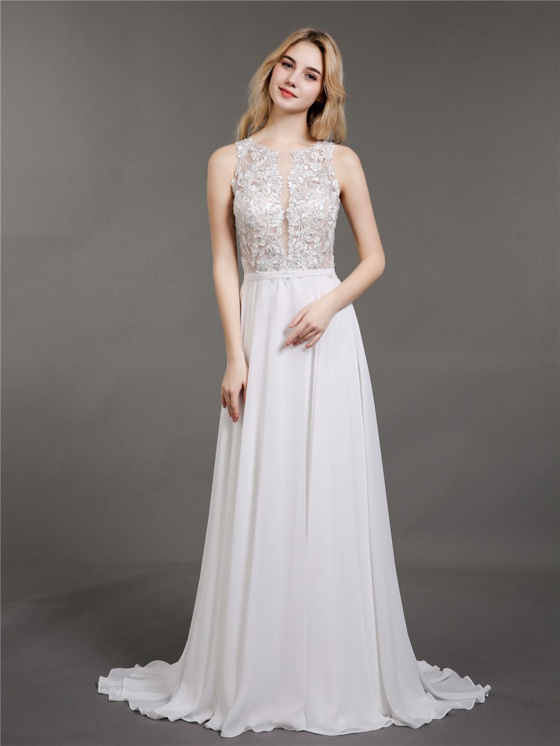 A-line Chiffon Ivory Zipper Appliqued, Beaded Sweep/Brush Train Scoop Sleeveless Lace Wedding Dresses