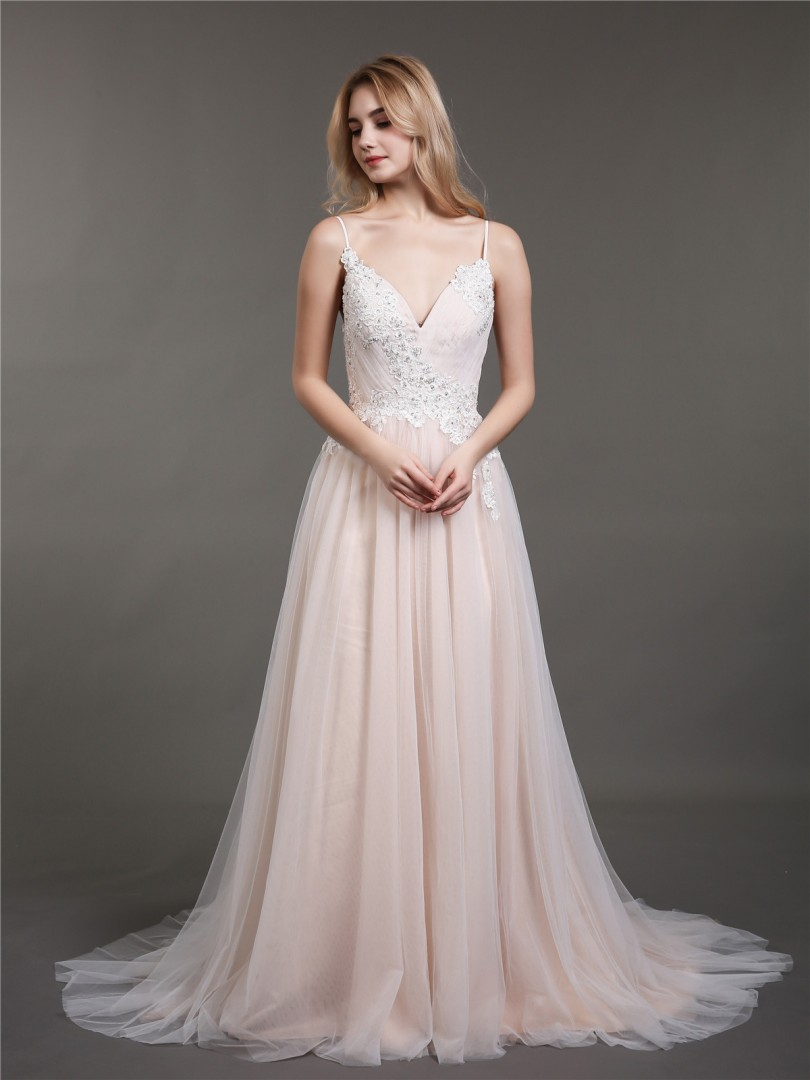 A-line Tulle Champagne Backless Appliqued, Beaded, Pleated Sweep/Brush Train V-neck Spaghetti Straps Best Sellers