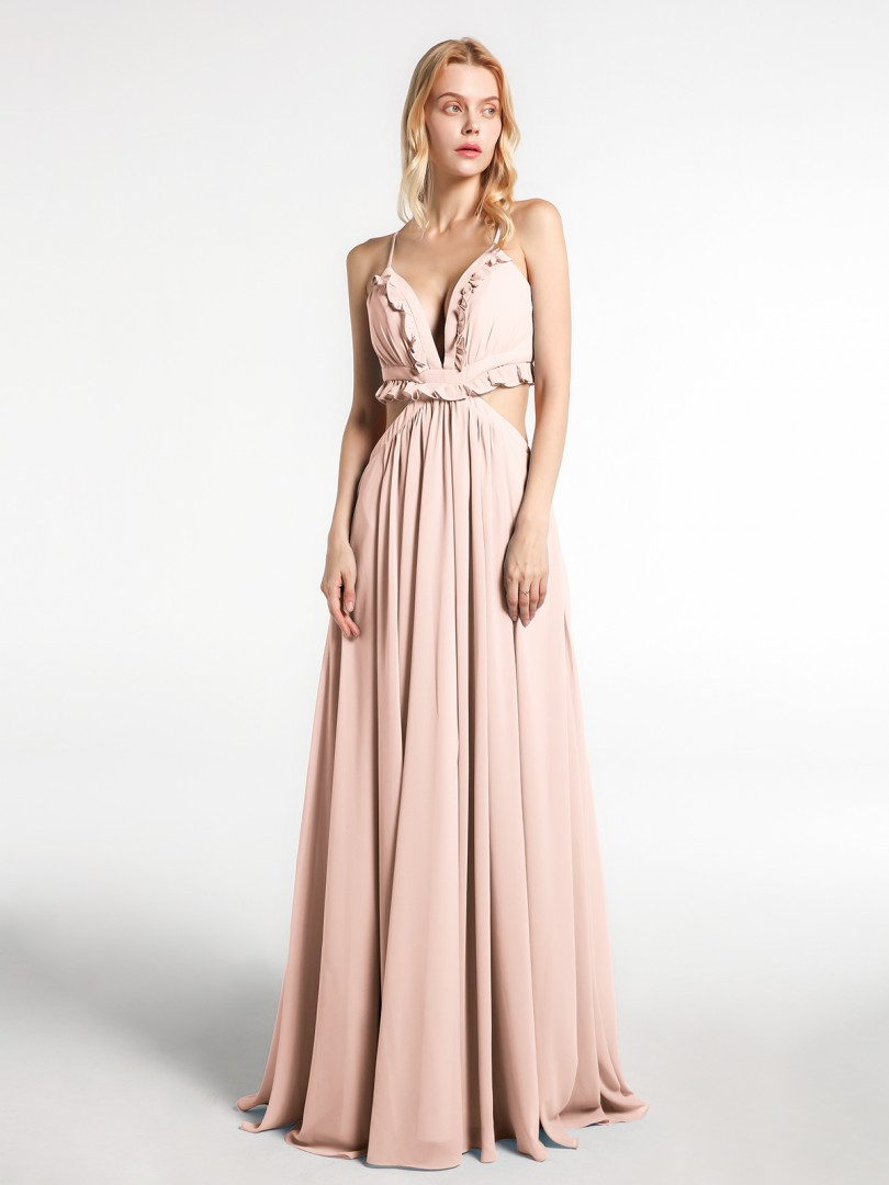 A-line Chiffon Peacock Backless  Floor-length V-neck Spaghetti Straps New Arrivals