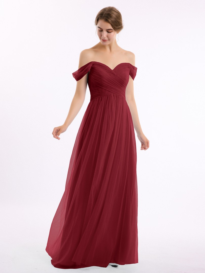 A-line Tulle Burgundy Zipper Ruched, Pleated Floor-length Off-the-shoulder Short Sleeves Bridesmaid Dresses