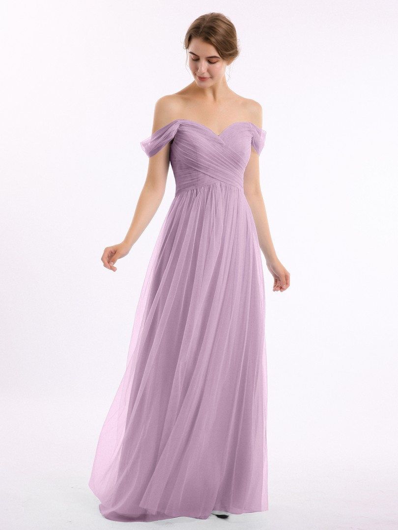 A-line Tulle Burgundy Zipper Ruched, Pleated Floor-length Off-the-shoulder Short Tulle Bridesmaid Dresses