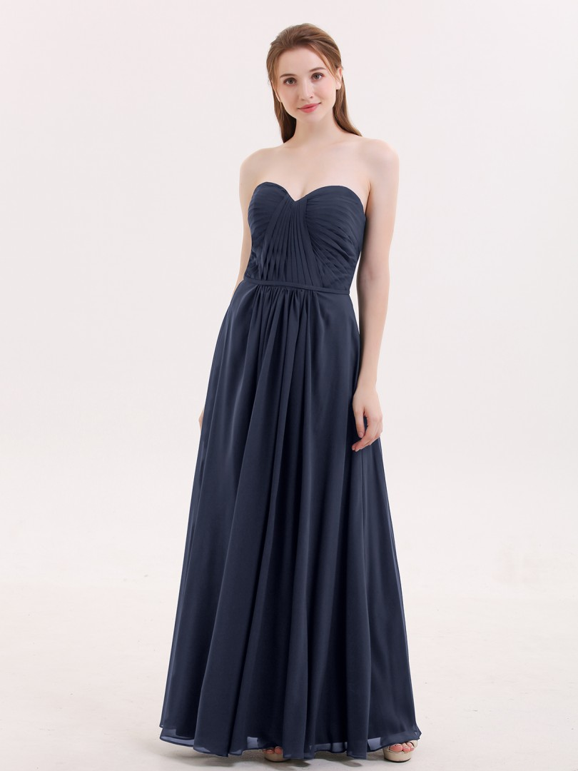 A-line Chiffon Regency Zipper Ruched, Pleated Floor-length Sweetheart Sleeveless Long Bridesmaid Dresses