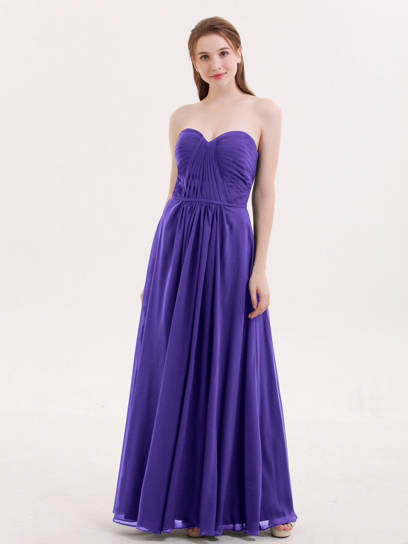 A-line Chiffon Regency Zipper Ruched, Pleated Floor-length Sweetheart Sleeveless Bridesmaid Dresses