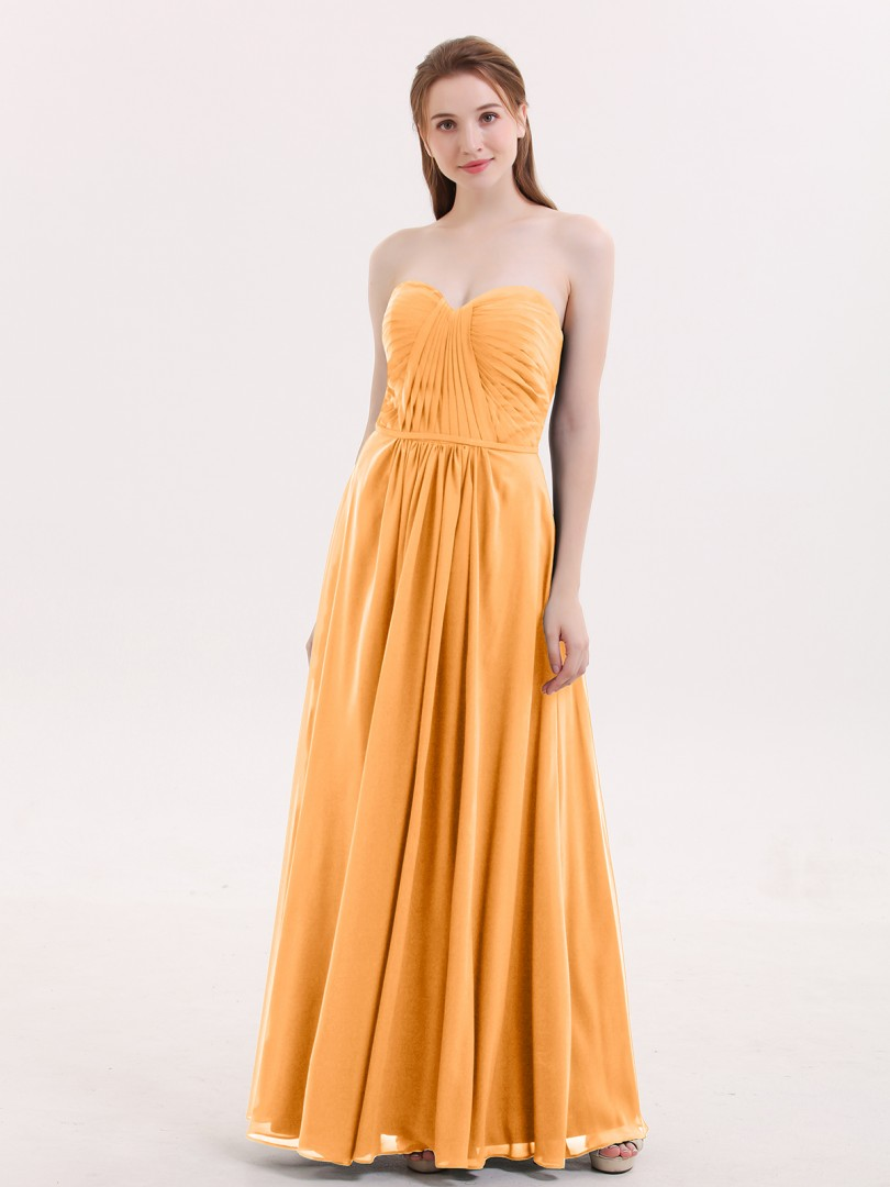 45b8ac5edea0 A-line Chiffon Regency Zipper Ruched, Pleated Floor-length Sweetheart  Sleeveless Long Bridesmaid