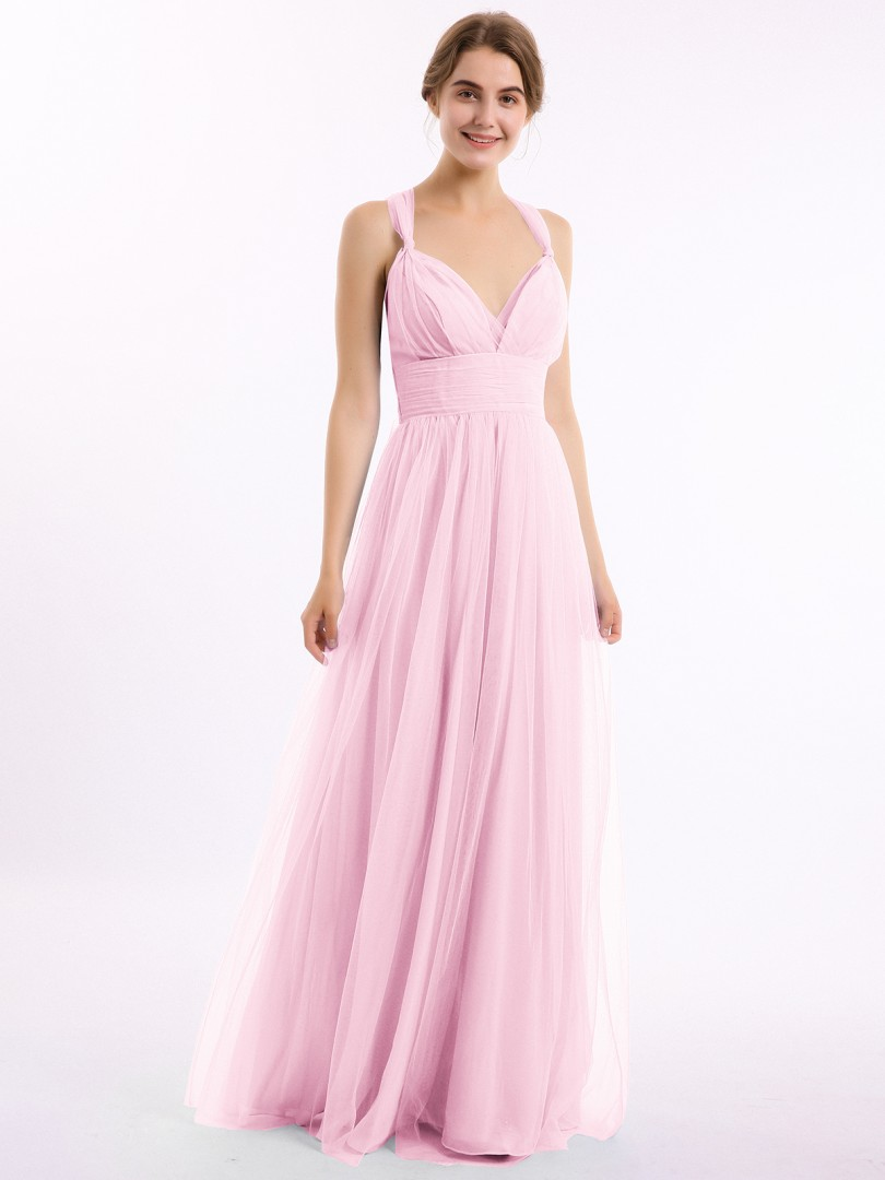 A-line Tulle Candy Pink Criss-Cross Straps Bow, Ruched Floor-length V-neck Straps Long Bridesmaid Dresses