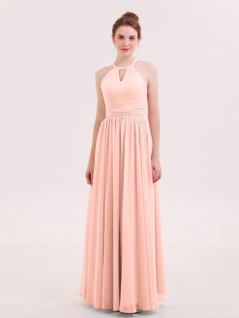 A-line Chiffon Coral Zipper Ruffle Floor-length Halter Sleeveless Long Bridesmaid Dresses