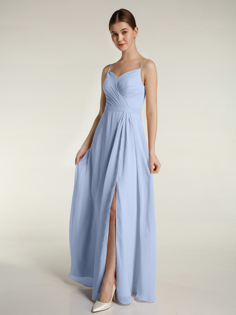 A-line Chiffon Dark Navy Zipper Ruched, Pleated Floor-length Sweetheart Spaghetti Straps New Arrivals