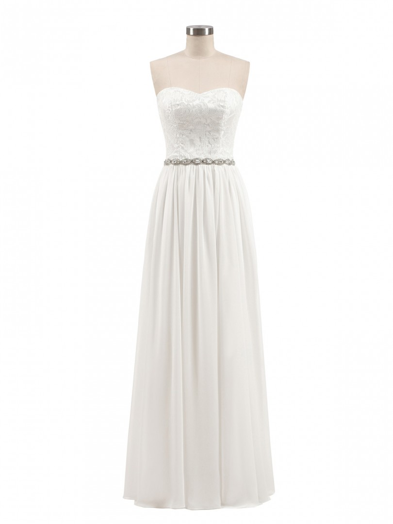 A-line Chiffon White Zipper Lace, Rhinestone Floor-length Sweetheart Sleeveless Prom Dresses