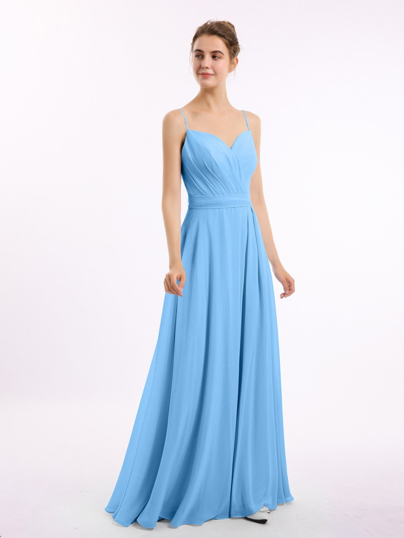 A-line Chiffon Grape Zipper Belt, Bow, Ruched Floor-length Sweetheart Spaghetti Straps Long Bridesmaid Dresses