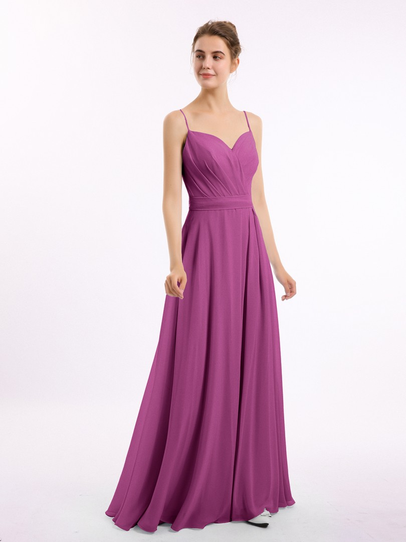 A-line Chiffon Grape Zipper Belt, Bow, Ruched Floor-length Sweetheart Spaghetti Straps New Arrivals