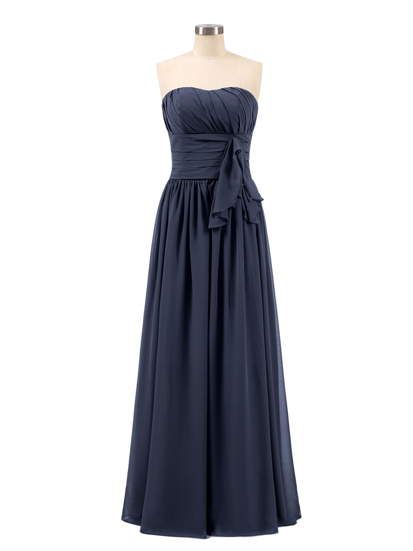 A-line Chiffon Regency Zipper Bow, Ruched, Pleated Floor-length Sweetheart Sleeveless Long Bridesmaid Dresses