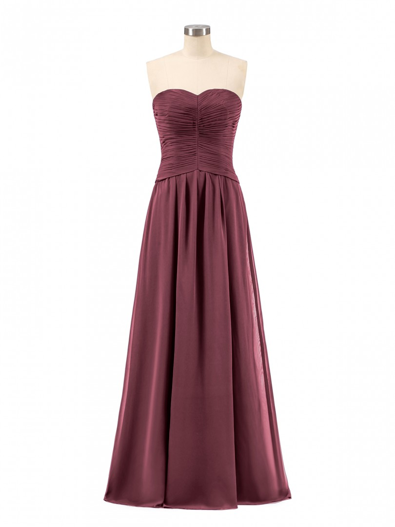 A-line Chiffon Jade Zipper Ruched, Pleated Floor-length Sweetheart Sleeveless Long Bridesmaid Dresses