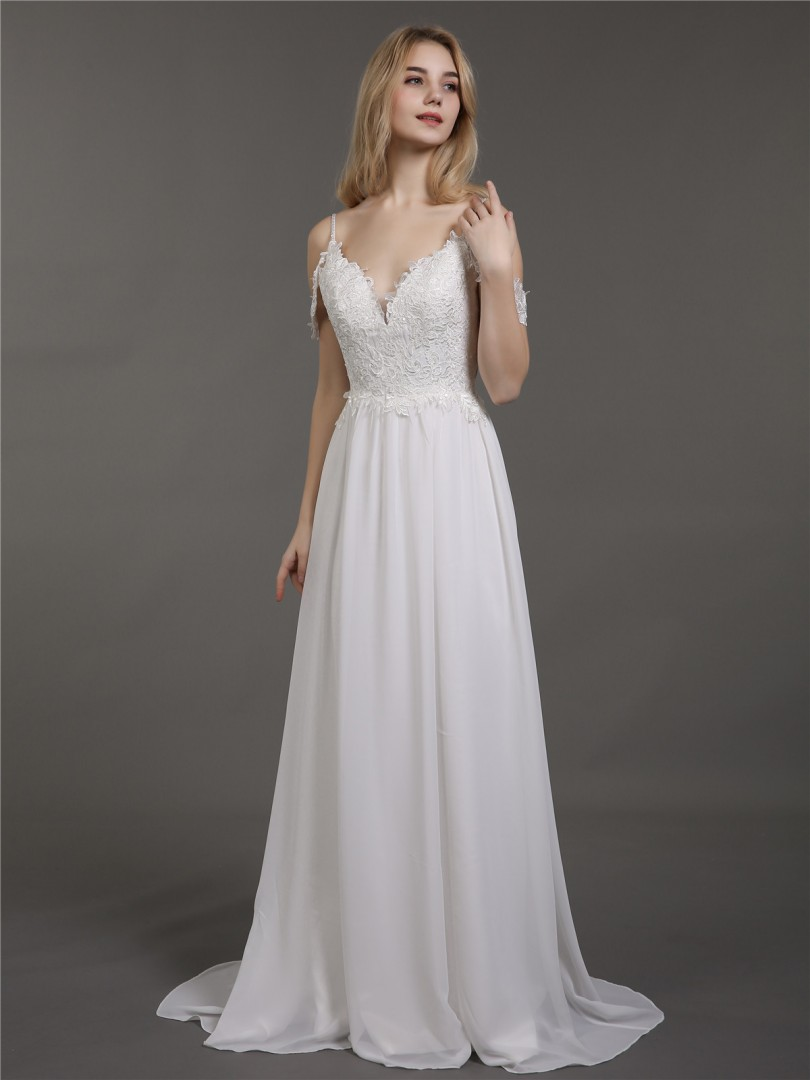 A-line Chiffon Ivory Criss-Cross Straps Appliqued Sweep/Brush Train Off-the-shoulder Spaghetti Straps Wedding Dresses