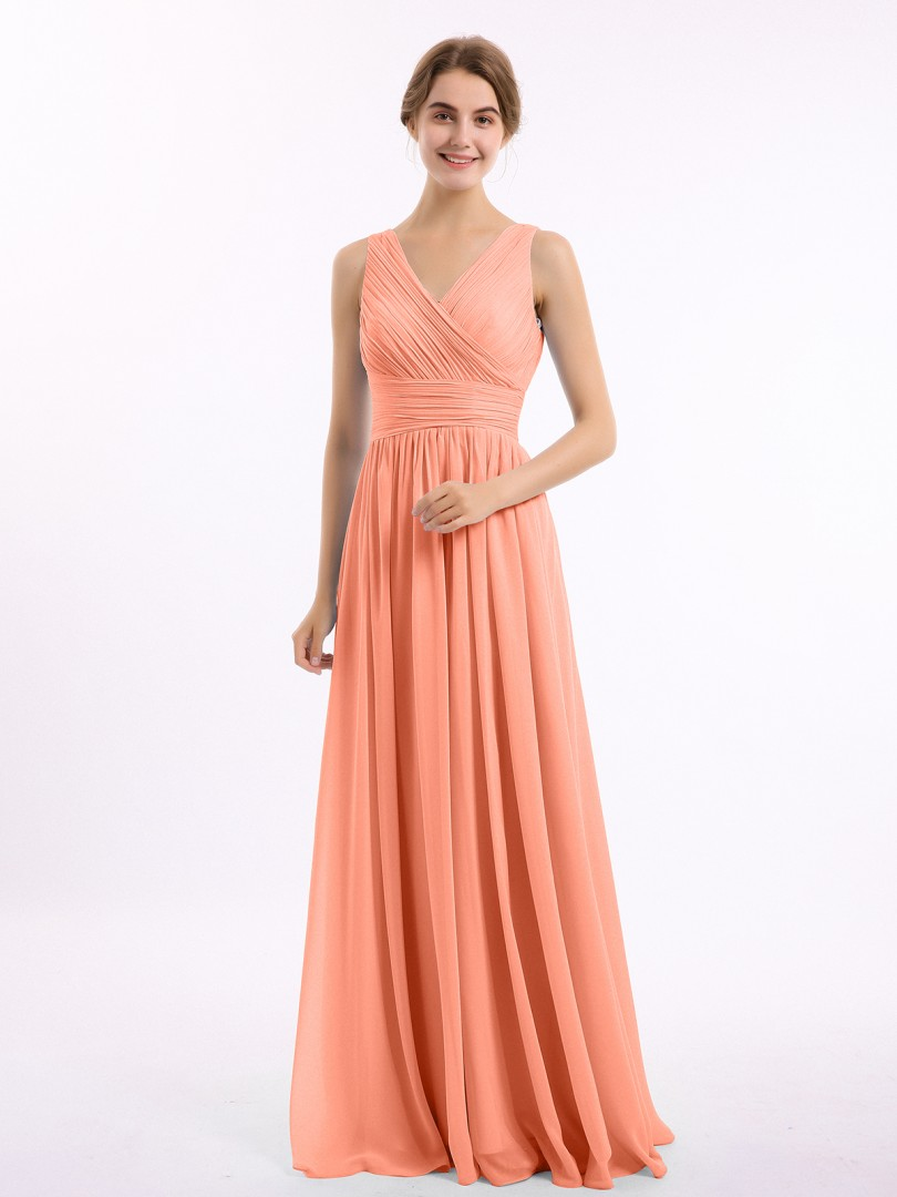 A-line Chiffon Royal Blue Zipper Ruched, Pleated Floor-length V-neck Sleeveless New Arrivals