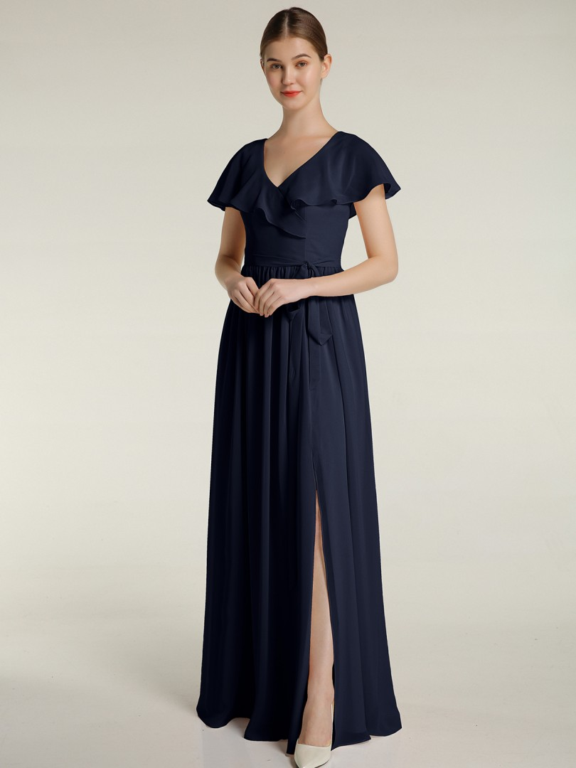 A-line Chiffon Dusty Blue Zipper Bow, Ruched Floor-length V-neck Cap Sleeve Long Bridesmaid Dresses