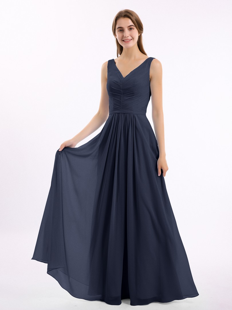 A-line Chiffon Peacock Zipper Ruched, Pleated Floor-length V-neck Sleeveless Long Bridesmaid Dresses