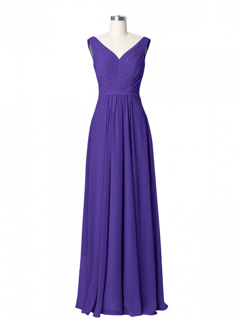A-line Chiffon Sky Blue Zipper Ruched, Pleated Floor-length V-neck Sleeveless Chiffon Bridesmaid Dresses