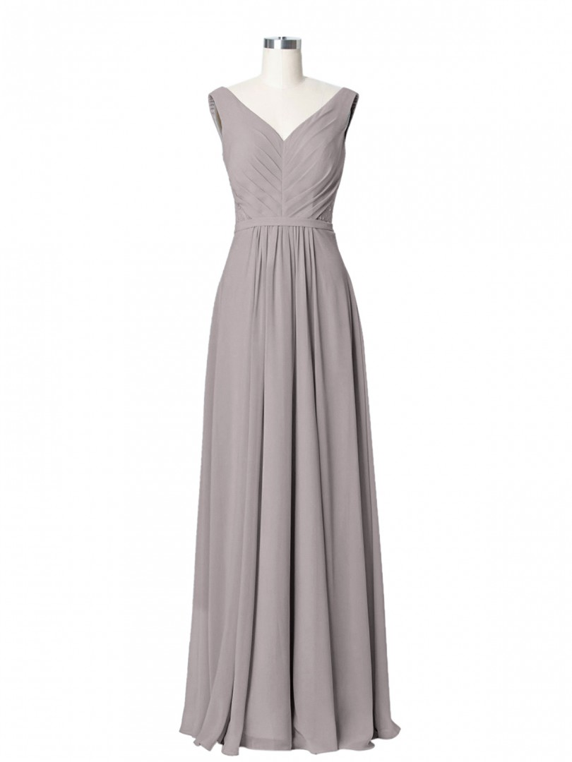 A-line Chiffon Sky Blue Zipper Ruched, Pleated Floor-length V-neck Sleeveless Long Bridesmaid Dresses
