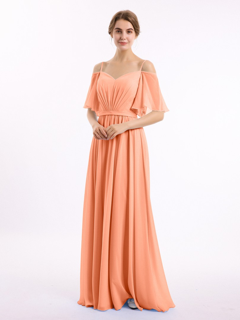 A-line Chiffon Papaya Zipper Belt, Ruched, Pleated Floor-length Off-the-shoulder Spaghetti Straps New Arrivals