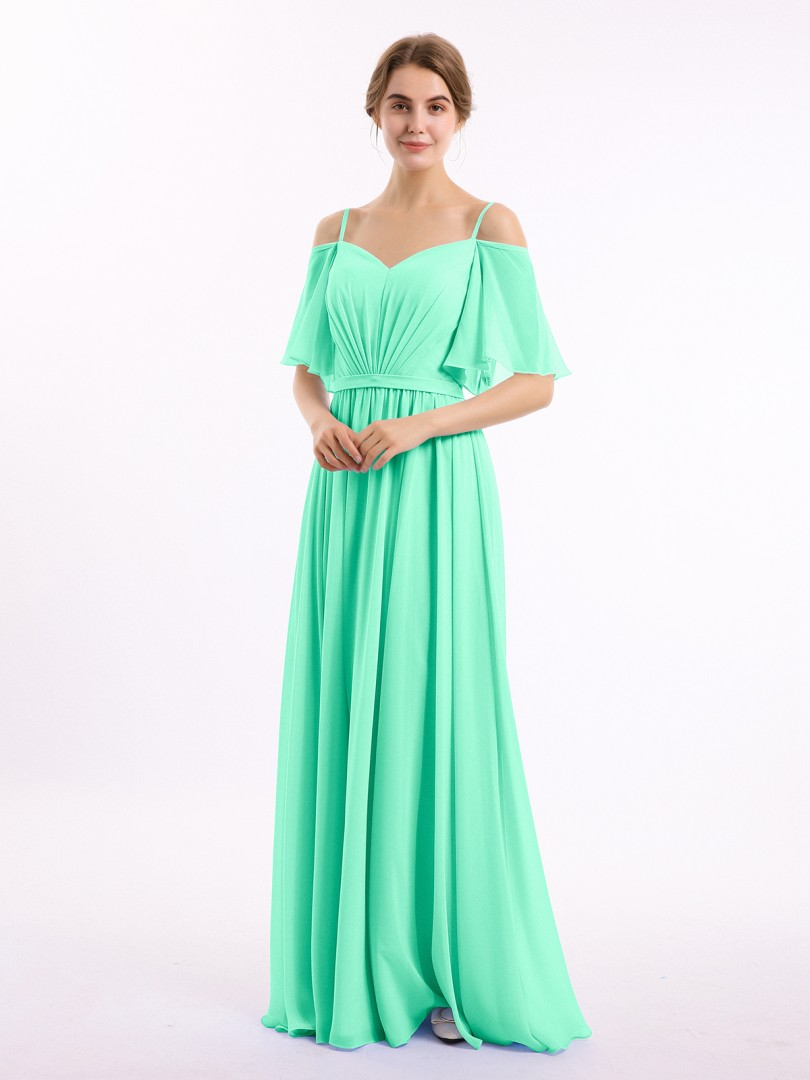 A-line Chiffon Papaya Zipper Belt, Ruched, Pleated Floor-length Off-the-shoulder Spaghetti Straps Long Bridesmaid Dresses