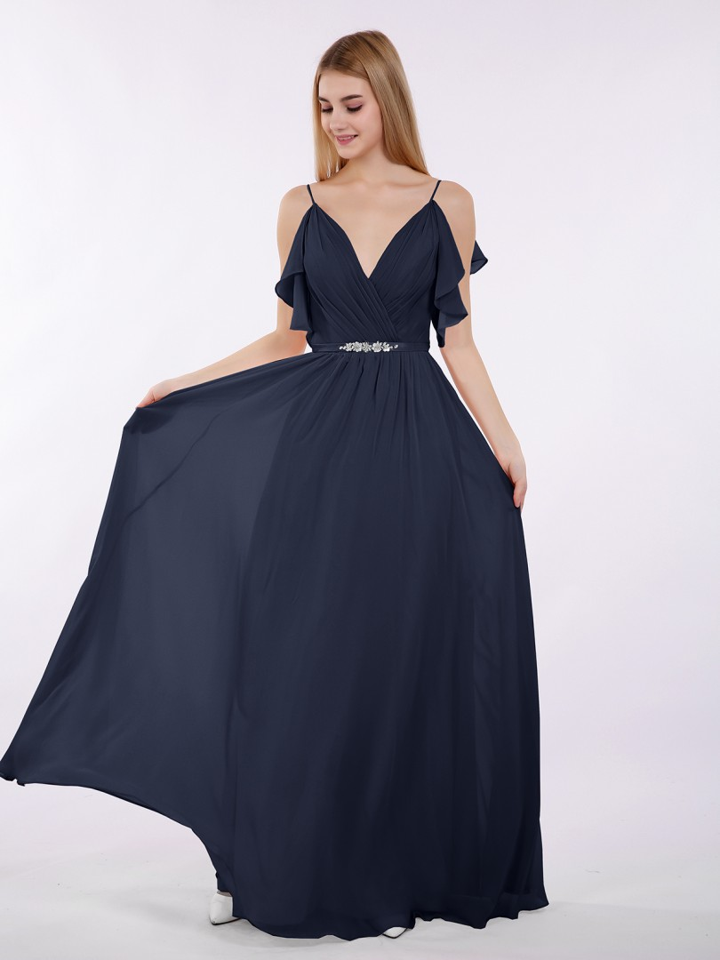 f3cfa804c79 ... Long Bridesmaid Dresses  Babaroni Gill. A-line Chiffon Tahiti Zipper  Beaded
