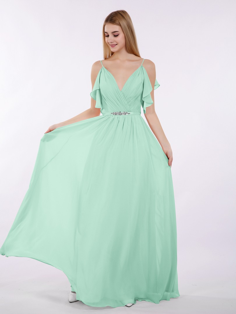 A-line Chiffon Tahiti Zipper Beaded, Ruffle Floor-length V-neck Spaghetti Straps Long Bridesmaid Dresses