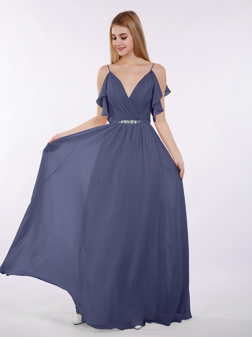 a441829ea6ae A-line Chiffon Tahiti Zipper Beaded, Ruffle Floor-length V-neck Spaghetti
