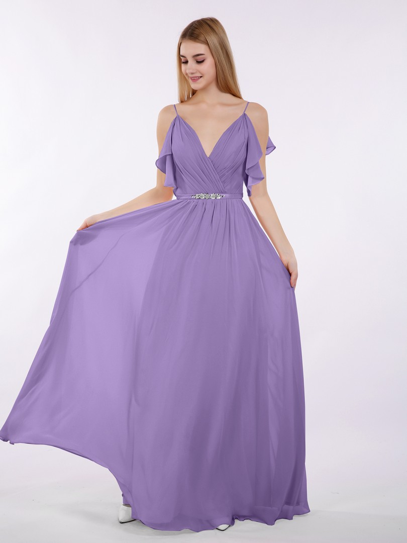 A-line Chiffon Tahiti Zipper Beaded, Ruffle Floor-length V-neck Spaghetti Straps Bridesmaid Dresses