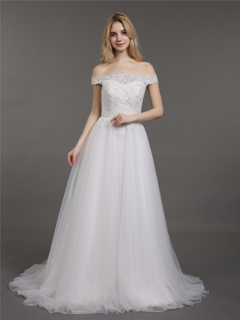 A-line Tulle Ivory Zipper Appliqued, Beaded Sweep/Brush Train Off-the-shoulder Short Wedding Dresses