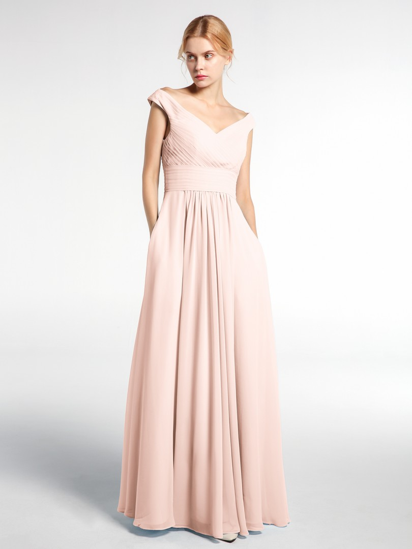 A-line Chiffon Pearl Pink Zipper Floor-length V-neck Sleeveless Bridesmaid Dresses
