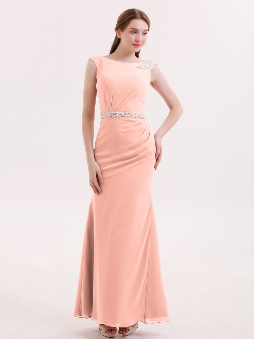 Trumpet/Mermaid Chiffon Coral Zipper Beaded Floor-length Bateau Sleeveless Sleeves Bridesmaid Dresses