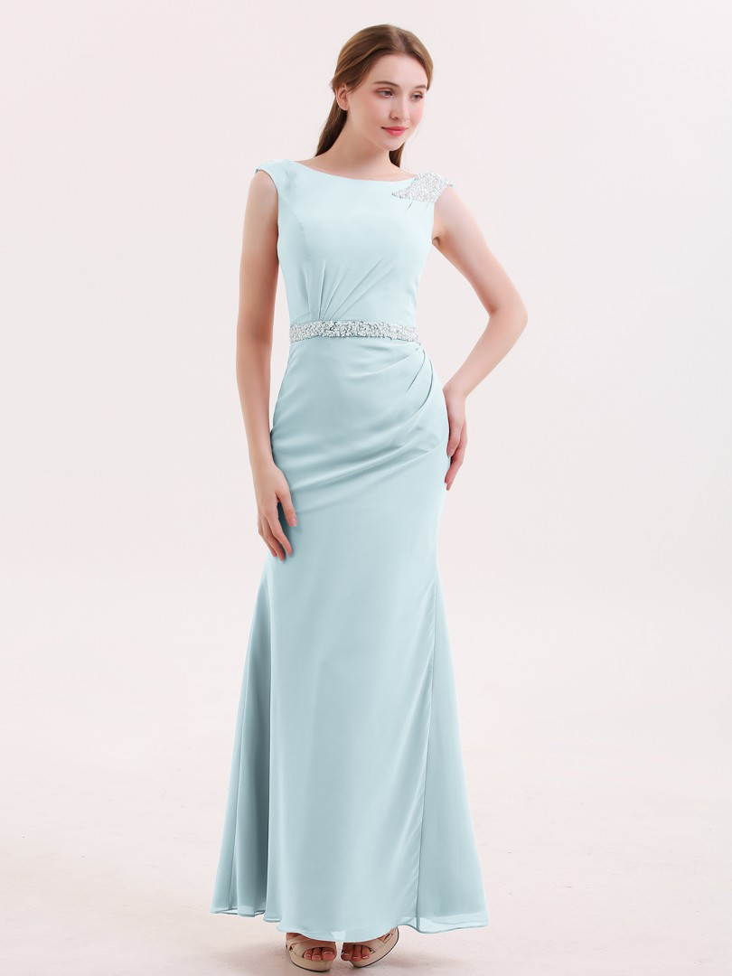 Trumpet/Mermaid Chiffon Coral Zipper Beaded Floor-length Bateau Sleeveless Long Bridesmaid Dresses