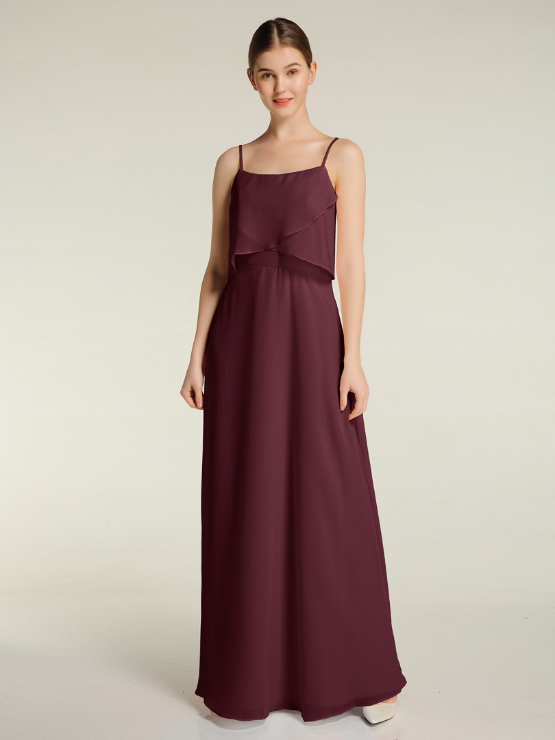 A-line Chiffon Cabernet Zipper  Floor-length Scoop Spaghetti Straps Long Bridesmaid Dresses