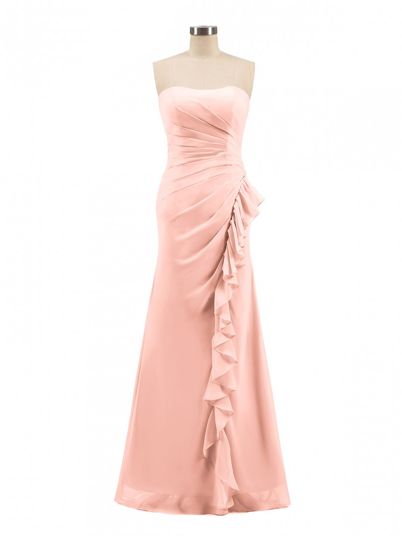 Sheath/Column Chiffon Coral Zipper Ruffle, Pleated Floor-length Sweetheart Sleeveless Long Bridesmaid Dresses