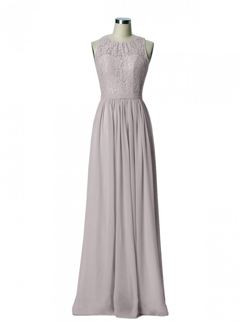 A-line Chiffon Mint Green Zipper Lace, Ruched Floor-length Scoop Sleeveless Long Bridesmaid Dresses