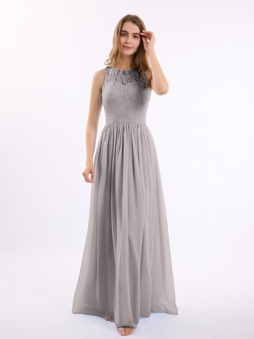 A-line Chiffon Sunset Zipper Lace, Ruched Floor-length Scoop Sleeveless Long Bridesmaid Dresses