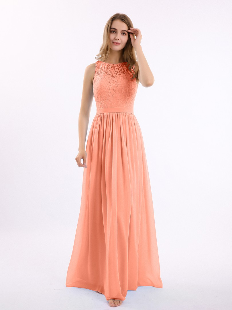 A-line Chiffon Sunset Zipper Lace, Ruched Floor-length Scoop Sleeveless Lace Bridesmaid Dresses
