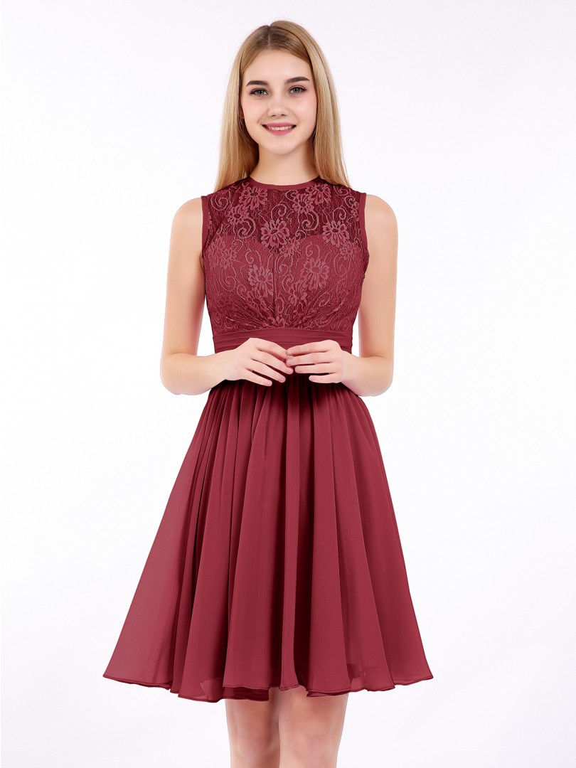 A-line Chiffon Burgundy Zipper Ruched, Pleated Short/Mini Scoop Sleeveless Prom Dresses