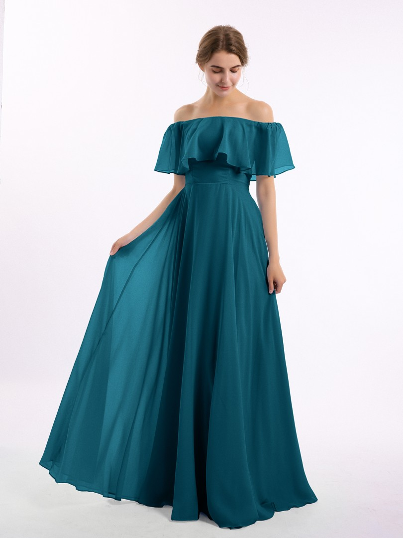 A-line Chiffon Ink Blue Zipper Side Pleated Floor-length Off-the-shoulder Short Bridesmaid Dresses