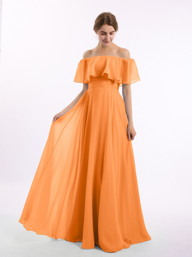 A-line Chiffon Ink Blue Zipper Side Pleated Floor-length Off-the-shoulder Short Long Bridesmaid Dresses